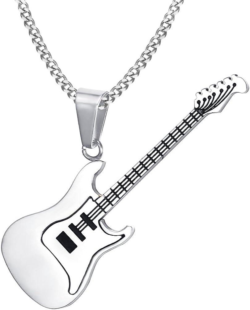 1Pc Unisexe Rock Guitare Pendentif en Acier Inoxydable Collier Bijoux Musicien Cadeau
