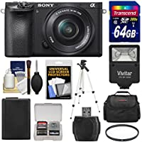 Sony Alpha A6500 4K Wi-Fi Digital Camera & 16-50mm Lens with 64GB Card + Battery + Case + Filter + Tripod + Flash + Kit