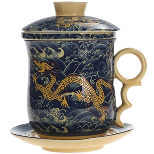 Dragon Infuser - BandTie Convenient Travel Office Loose Leaf Tea Brewing System-Chinese Jingdezhen Blue and White Porcelain Tea Cup Infuser 4-Piece Set with Tea Cup Lid and Saucer (Dragon Pattern)