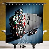 Waterproof Shower Curtain 3.0 by SCOCICI [ Poker Tournament Decorations,Gambling Chips and Pair Cards Aces Casino Wager Games Hazard,Multicolor ] Digital Print Polyester Fabric Bathroom Set