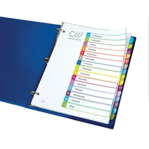 Avery customizable table of contents dividers 1 15 tabs for Avery table of contents template 15 tab