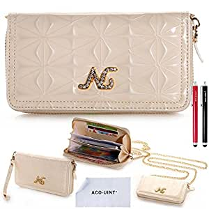 ACO-UINT Multiple-function Elegant Purse Handbag Wallet Style Leather Case Cover with Golden Hand Chain Strap for iPhone, Samsung, HTC, Sony and Other Smart Phones, Two Stylus Pens/ACO-UINT Microfiber Cleaning Cloth Included (Case cover 4)