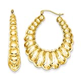 7mm x 40mm Polished 14k Yellow Gold Scalloped Hollow Hoop Earrings