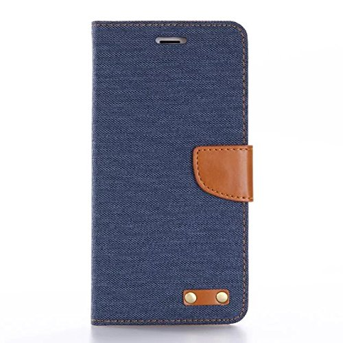 iPhone 7plus beautiful Case, [New Design] Canvas Diary [Denim Material] Wallet Case [ID Credit Card and Cash Slots] with Stand Flip Cover for Apple iPhone 7 plus with Screen Protector And Stylus Pen (Navy) BTJP