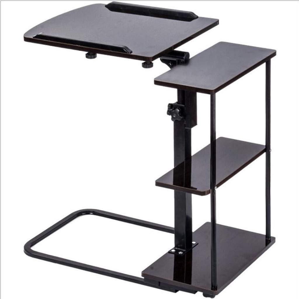 Home Office Adjustable Laptop Desk Movable Raised and Lowered Mobile Convenient Bedroom Computer Sheet Music Desk (Black)