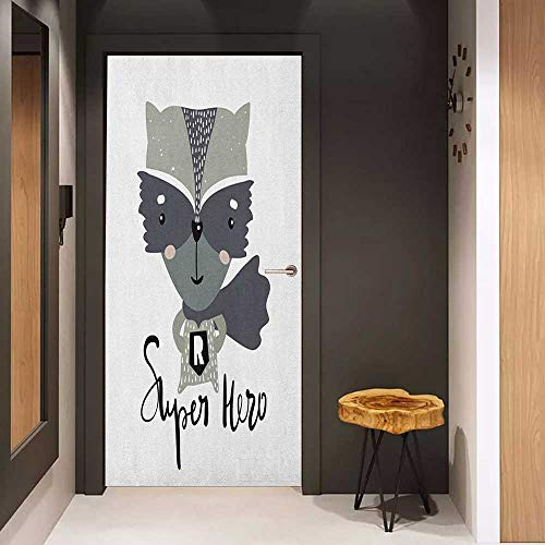 Onefzc Wood Door Sticker Nursery Cartoon Style Raccoon Super Hero with a Costume and Cape Childish Animal Design Easy-to-Clean, Durable W30 x H80 Multicolor -