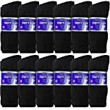 USBingoshop 12 Pairs Mens Physicians Approved Crew Diabetic Socks Cotton 10-13 (12 Pairs D-Black)