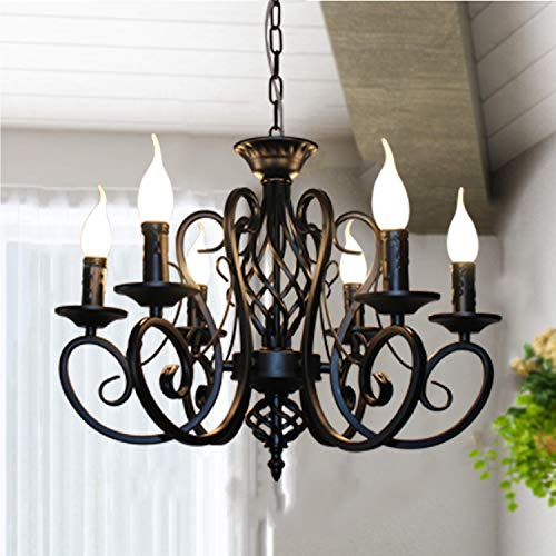 Ganeed Rustic French Country Chandelier,6 Lights Farmhouse Candle Iron Chandeliers,Vintage Metal Pendant Light Fixture for Kitchen Island,Dining -