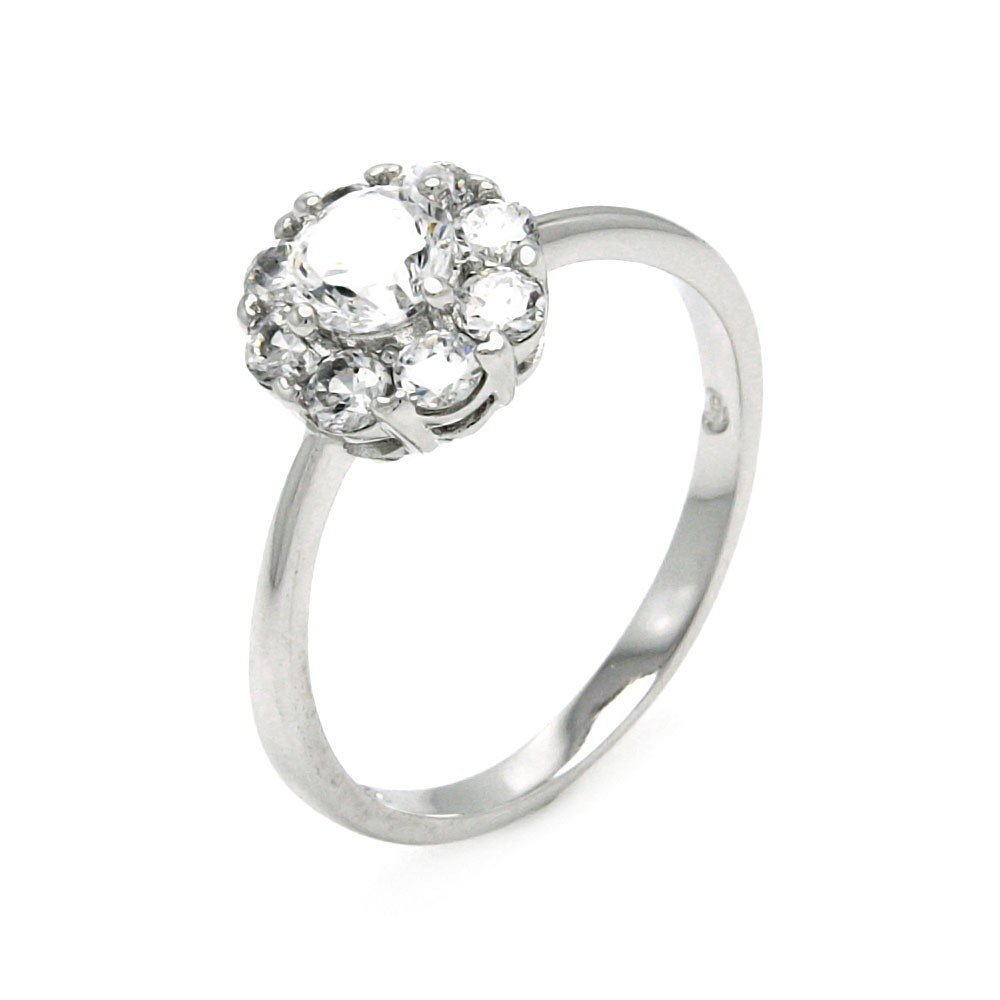 Princess Kylie Halo Set Round Center Cubic Zirconia Flower Design Ring Rhodium Plated Sterling Silver