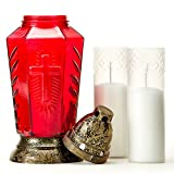 Taultic Lights Cemetery Candle | Gravesite Remembrance | Tall Red Glass with Prayer Card