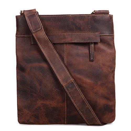 Leathario bolso portátil de moda de cuero de primer capa de caballo loco colgado de hombros para hombres usado al diario(café) MARRÓN OSCURO