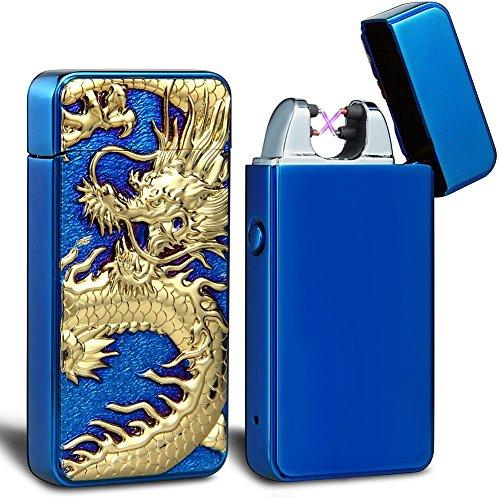 - USB Rechargeable Lighter, Electric Tesla Plasma Dragon Lighter USB Windproof Flameless Arc Lighter (Blue ice)
