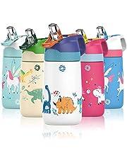 FJbottle Drinkfles voor kinderen, 350 ml, roestvrij staal, vacuüm-geïsoleerde waterfles, BPA-vrij, lekvrije thermosfles, kinderfles met rietje en ventilatiegat, voor sport/outdoor/school