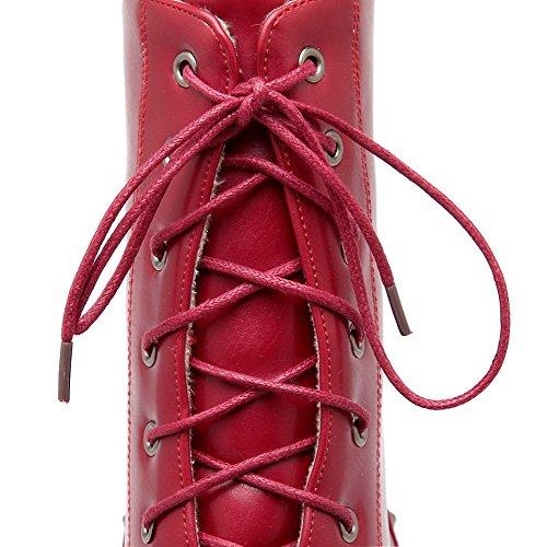 Allhqfashion Femmes Lacets Kitten-talons Pu Solides Low-top Bottes Rouge