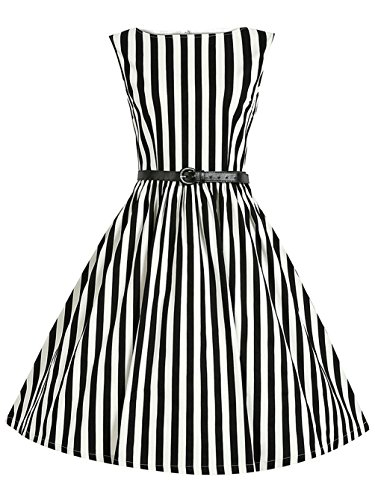 Women's Vintage Sleeveless Striped Casual Cocktail Party Swing Dress With Belt,Black,Small