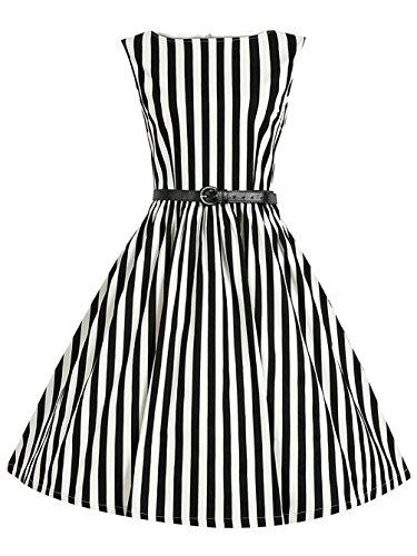 (1950s Hepburn Style Sleevless Vintage Stripe Retro Belt Swing Dresses)