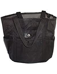 Saltwater Canvas Family Mesh Whale Bag, Sand & Waterproof base, 9 pockets, Black