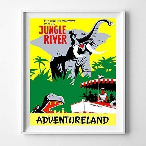 (Disneyland Jungle River Adventureland Wall Art Poster Home Decor Print Vintage Artwork Reproduction - Unframed)