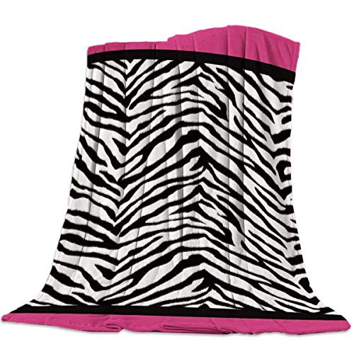 Funy Decor Animal Zebra Print Super Soft Throw Blankets Black White Pink Warm Cozy Flannel Bed Blanket Decorative for Home Sofa Couch Chair Living Bedroom,40x50