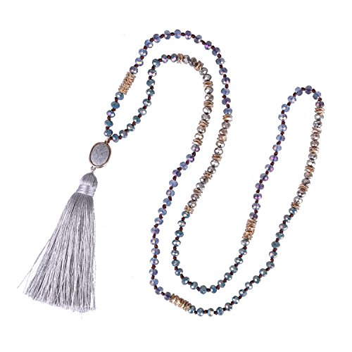 KELITCH 6MM Crysta AB Beaded Long Necklace Color Tassel Agate Pendant Women Strand Bracelet For Summer (Grey)