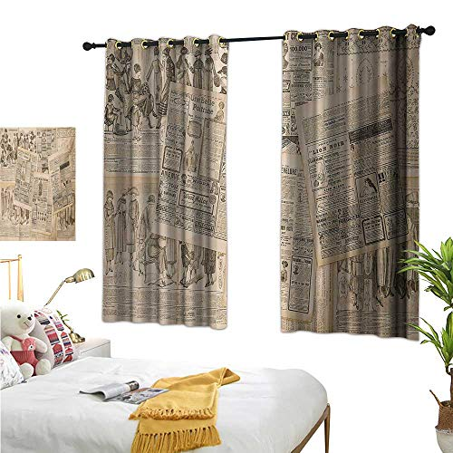 Luckyee Blackout Draperies for BedroomAntique,72