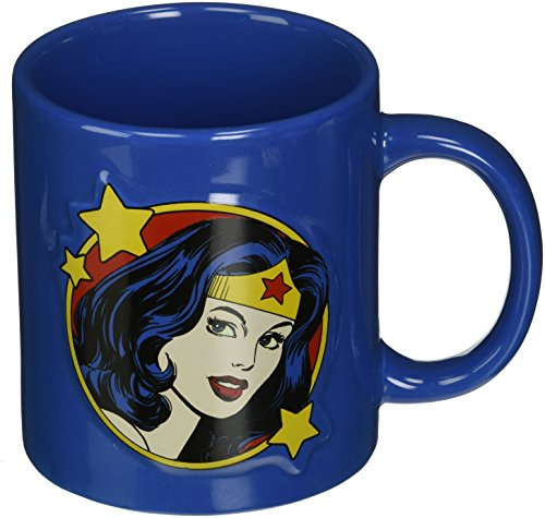 ICUP DC Wonder Woman Embossed Face Ceramic Mug, 20 ounce, (Wonder Woman Face)
