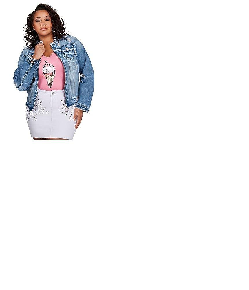 Ashley Stewart Plus Size Frayed Collar Denim Jacket 26 At Amazon