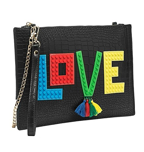 Melie Bianco Love Verbiage Vegan Leather Slim Clutch Wristlet Crossbody Bag