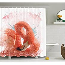 Flamingo Shower Curtain by Ambesonne, Flamingo Bird with Fairy Feather Watercolor Paint Effect Nature Art Work Print, Fabric Bathroom Decor Set with Hooks, 84 Inches Extra Long, Orange White