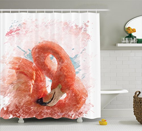 Flamingo Shower Curtain By Ambesonne  Flamingo Bird With Fairy Feather Watercolor Paint Effect Nature Art Work Print  Fabric Bathroom Decor Set With Hooks  70 Inches  Orange White