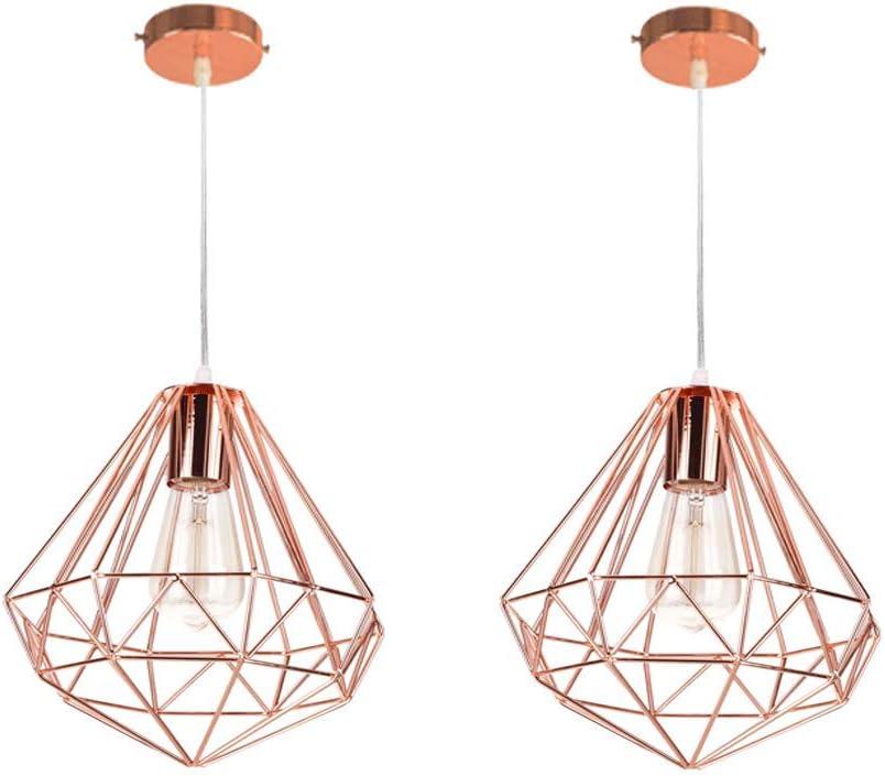 2 piezas Lámpara Colgante industrial Vintage E27 Iluminación de techo Ø26 cm Metal diamante pendiente para Cocina Salón Restaurante,Oro Rosa
