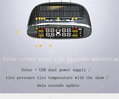 Dricworld car Tire pressure detector embedded universal mini wireless solar monitor (red) by Dricworld (Image #5)