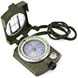 Prismatic Waterproof Military-Style Folding Compass with Carry Case by Grizzly Peak