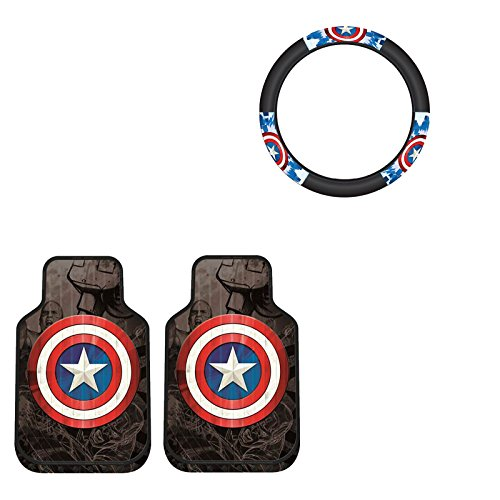 Captain America 2 pc Front Floor Mats And Wheel Cover