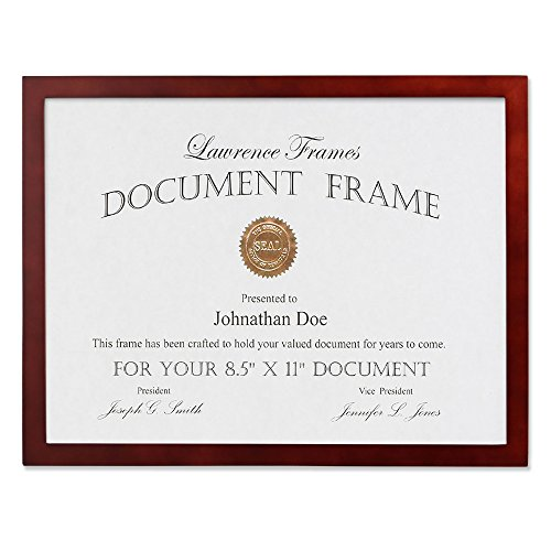 (Lawrence Frames Walnut Wood Certificate Picture Frame, Gallery Collection, 8-1/2 by)