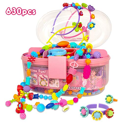 Pop Beads Jewelry Making Kit for Kids, Arts and Crafts Toys Gifts for Girls Age 3, 4, 5, 6, 7, 8 Year Old, Fashion Fun Hairband Bracelet Necklace and Ring Creativity DIY Set (630pcs)