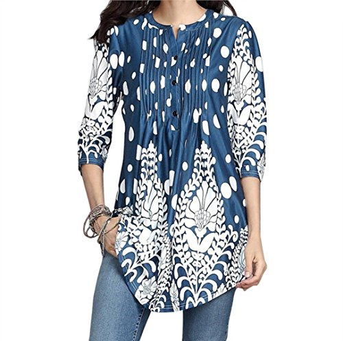 GOVOW Womens 3/4 Sleeve Roundneck Floral Tunic Tops Loose Blouse Button up Shirts ()