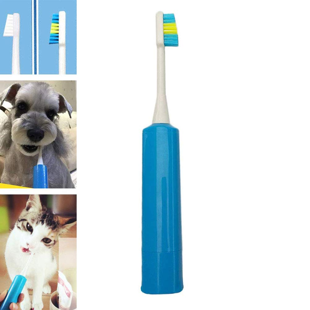 Pet Electric Toothbrush Cat Dog Remove Calculus, Bad Breath Professional Toothbrush with Super Soft Automatic Brush Head for Pets by Cacoffay