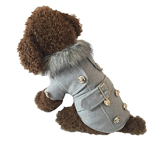 4 You Tweed Coat (Minisoya Pet Dog Jacket Winter Tweed Fabric Fashion Warm Thick Puppy Costume Clothes Button Coat (Gray, L))