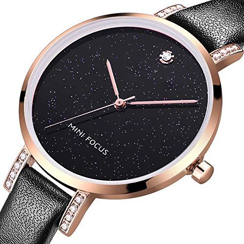 - MF MINI FOCUS Women Fashion Watch with Leather Strap (Blue, Black, Alloy, Wear-Resistant Crystal) Analog Quartz Female Wristwatch for Gift (Black)