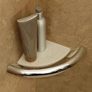 Amazon.com: Invisia Bath Corner Shelf-Support Rail- Chrome: Health ...