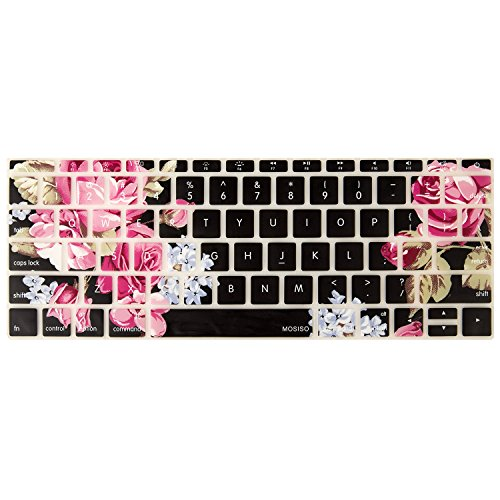 Mosiso Keyboard Cover for MacBook Pro 13 Inch 2017 & 2016 Release A1708 No Touch Bar & New MacBook 12 Inch A1534 Protective Skin, Peony (Macbook 13 Keyboard Cover)