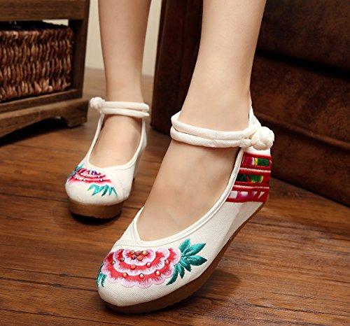 ZLL Gestickte Schuhe, Leinen, Sehnensohle, ethnischer Stil, erhöhte weibliche Schuhe, Mode, bequem, lässig white