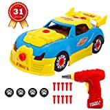 SGILE Take Apart Race Car Toy for Kids Birthday Gift Present, 31 Pieces Upgraded Educational Construction Toys Kit with Tools Drill Real Lights and Sounds, Best Gift for Kids Boys Girls