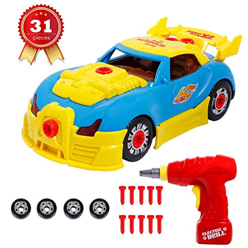 SGILE Take Apart Race Car Toy for Kids Birthday Gift Present, 31 Pieces Upgraded Educational Construction Toys Kit with Tools Drill Real Lights and Sounds, Best Gift for Kids Boys (Race Toy)