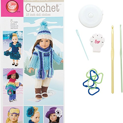 Boye Doll Clothes Learn to Crochet Crafting Arts and Crafts Kit for 18'' Dolls, 5 Projects