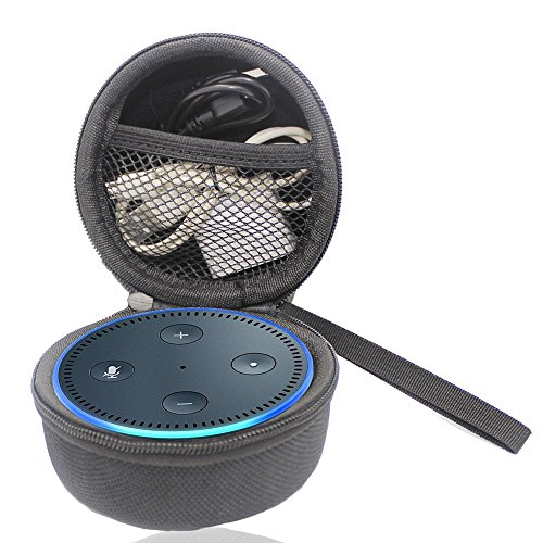 Price comparison product image echo dot 2nd generation case,waterproof Anti-pressure Wearable Outdoor travel portable audio storage box (Fits USB Cable and Wall Charger)