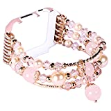 Juzzhou Watch Band For Apple iWatch Series 1/2/3 Edition Sport Replacement Handmade Beaded Faux Pearl Bling Stone Crystal Agate Jewels Elastic Stretch Wrist Strap Wristband Wriststrap Rose Gold 38mm
