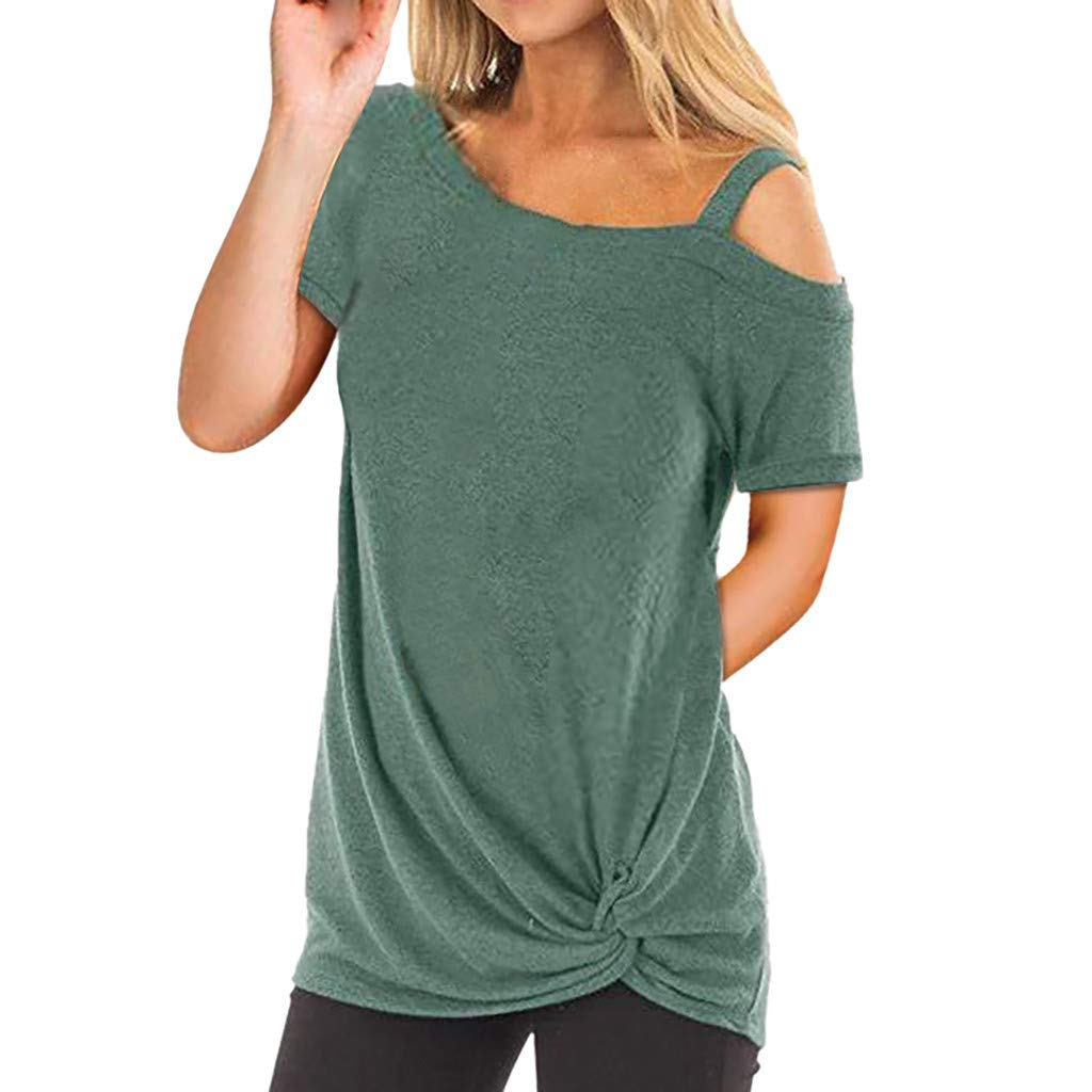 Mysky Women Summer Popular Solid Color Cold Shoulder Short Sleeve Bandage Cotton Tee Shirt Tops
