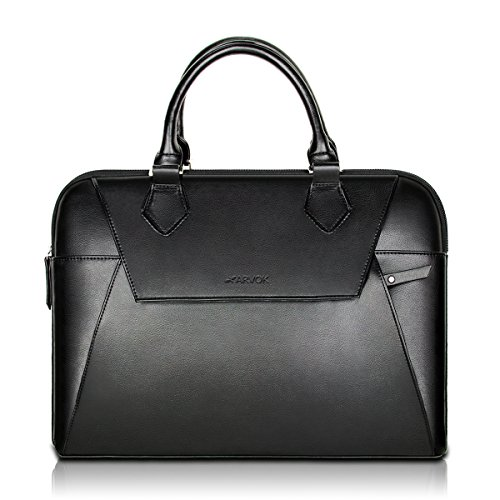 Arvok 13 13.3 Inch PU Leather Laptop Bag with Handle & Zipper Pocket/Water-Resistant Notebook Computer Case/Ultrabook Tablet Briefcase Carrying Sleeve for Women and Men, Black